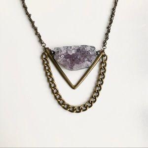 Handmade Natural Amethyst Crystal Cluster Necklace
